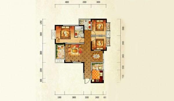 融汇半岛香缇漫山 户型图3室2厅2卫1厨.jpg