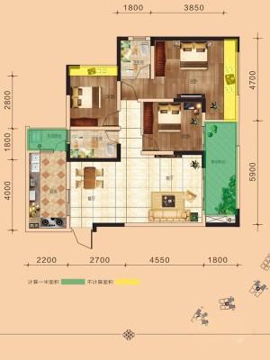 二期4幢标准层b6户型93.05㎡ 3室2厅2卫1厨